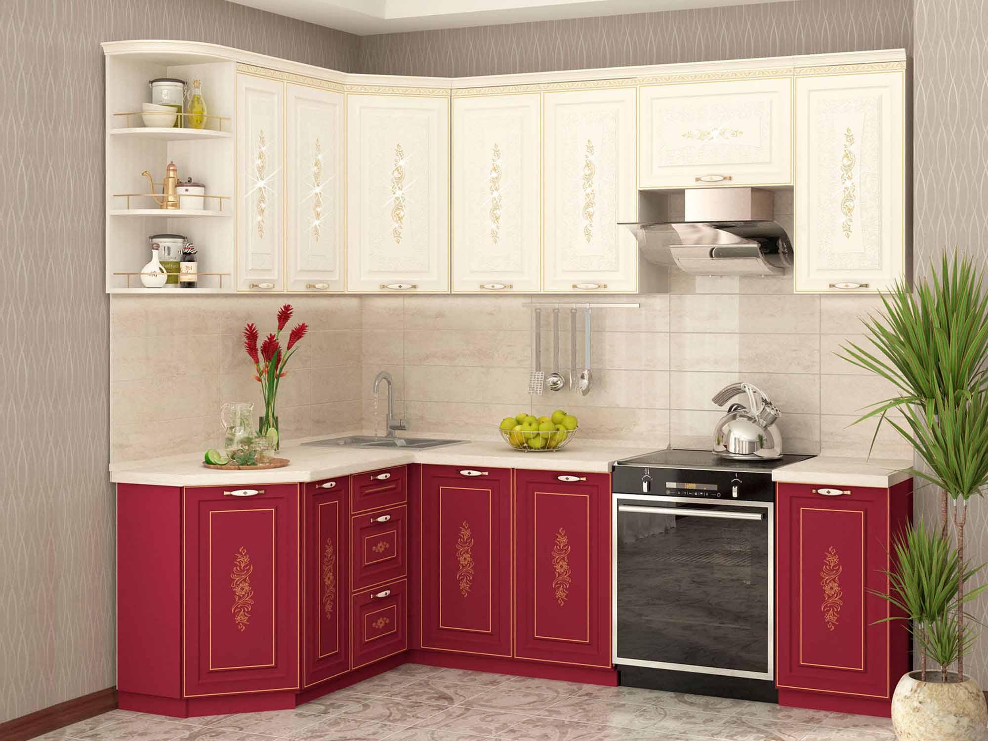 Бордовая кухня Виктория